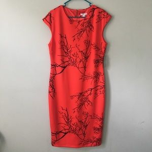Red with Tree Design New York & Company Midi Dress